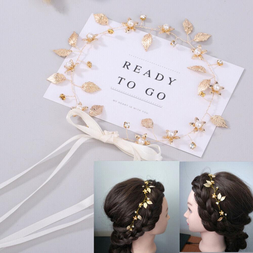 Braut Kopfschmuck Strass Perlen Blume Blätter Stirnband Hochzeit Haarband