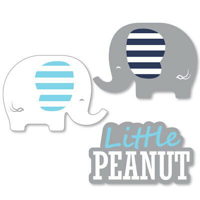 Blue Elephant - Shaped Boy Baby Shower or Birthday Party Cut-Outs - 24 Count