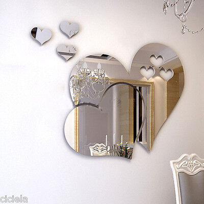 Home Decoration - 3D Mirror Love Hearts Wall Sticker Removable Decal DIY Home Room Art Mural Decor