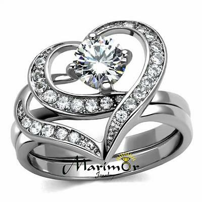 2 Piece Wedding Ring (Women's 1.2 Ct Round Cut Cz 2 Piece Heart Shape Stainless Steel Wedding Ring)