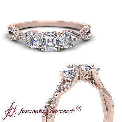 1.25 Carat Asscher Cut Diamond Rose Gold 3 Stone Infinity Twist Engagement Ring