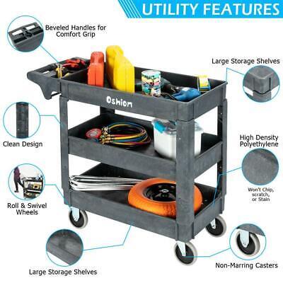550 Lbs Multifunctional Plastic Service Cart Utility Rolling Cart Garage