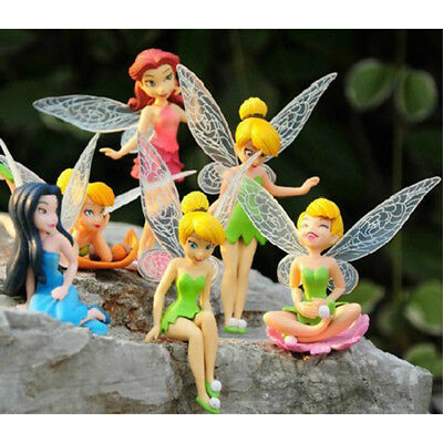 6 PCS Tinkerbell Floral Faires Secret Of The Wing Cake Topper Action Figure Toys (Tinkerbelle Wings)