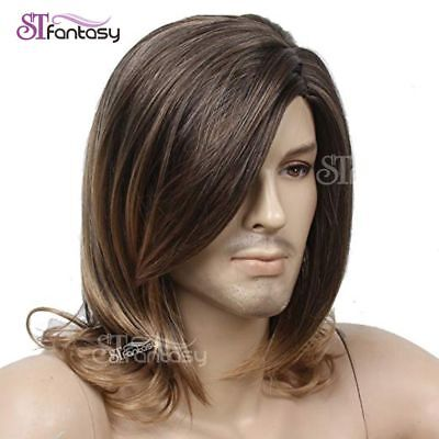 STfantasy Mens Wig Male Guy Halloween Party Long Curly Layered Synthetic Hair - Mens Party Wigs