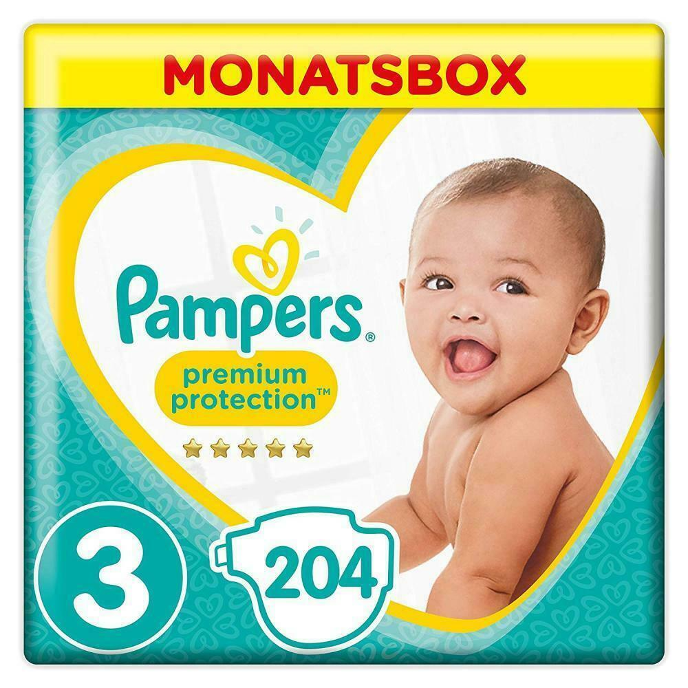 Pampers Premium Protection Windeln, Gr.3 Midi, 6-10kg, Monatsbox, 1er Pack...