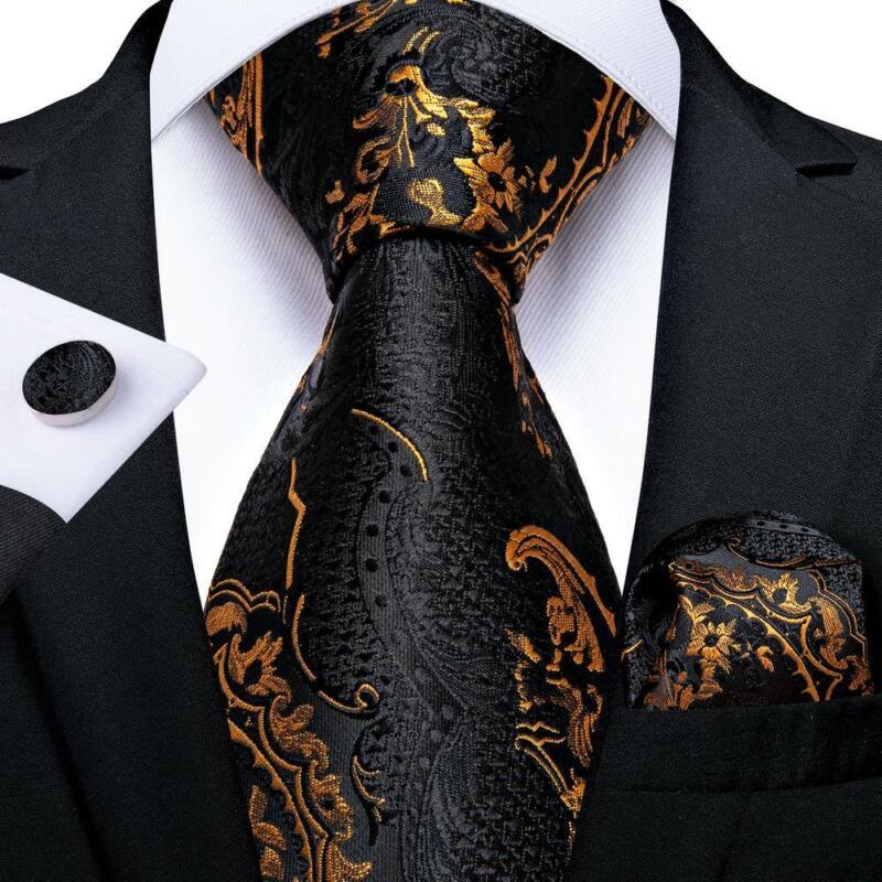 Black Gold Paisley Silk Tie Set Mens Necktie Pocket Square Cufflinks Wedding