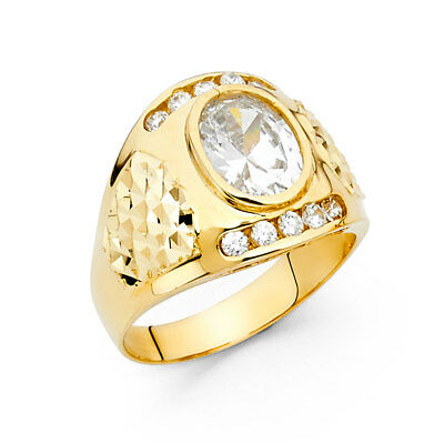 Solid Men 14k Yellow Real Gold Big CZ Round Prong Fashion Wedding Ring Band