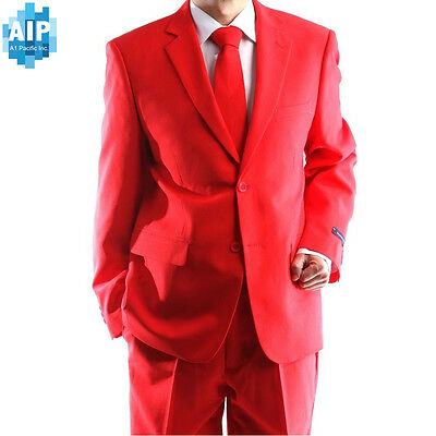 New Men Formal Classic Fit 2 piece Red Suit two button solid color Jacket pants