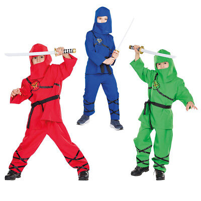 nder in rot, blau oder grün, mit Hose Haube Oberteil Gürtel (Grünes Ninja-kostüm Kind)