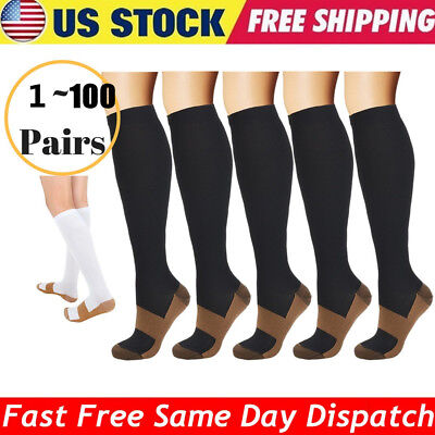 1~100 Pairs Copper Infused Compression Socks 20-30mmHg Graduated Men Women Lot