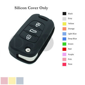 Silicone-Cover-Holder-Shell-fit-for-KIA-Flip-Remote-Key-Case-3-Button-11CLR-BK