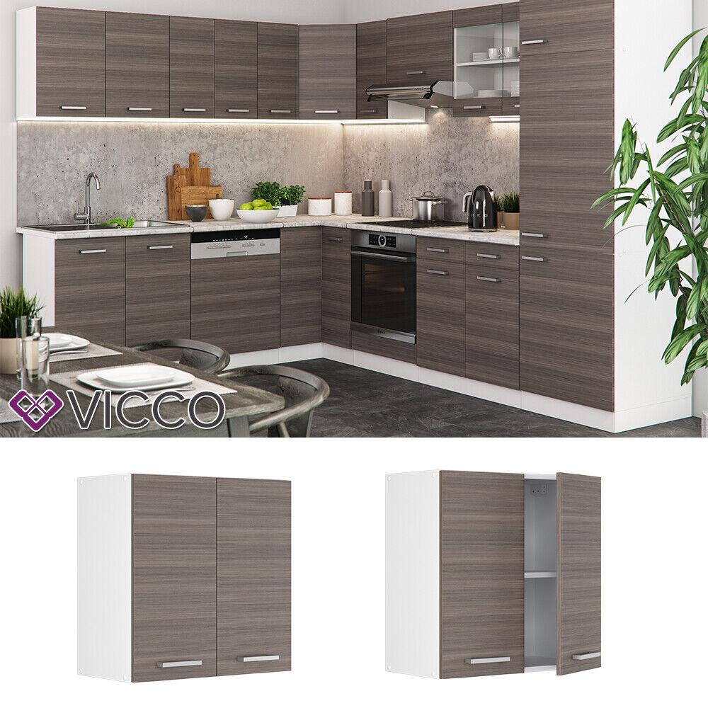 VICCO Küchenschrank Hängeschrank Unterschrank Küchenzeile R-Line Hängeschrank 60 cm edelgrau