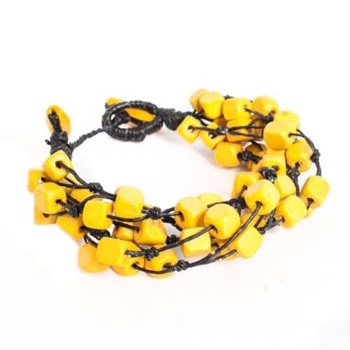 Yellow Cubic Wood Cube Beaded Bracelet Asian Thai Handmade Jewelry Wristband
