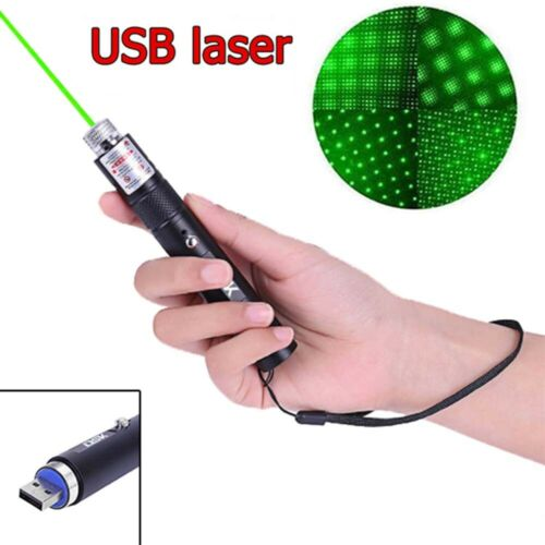 500Miles Green Laser Pointer USB Rechargeable 2in1 Lazer Pen