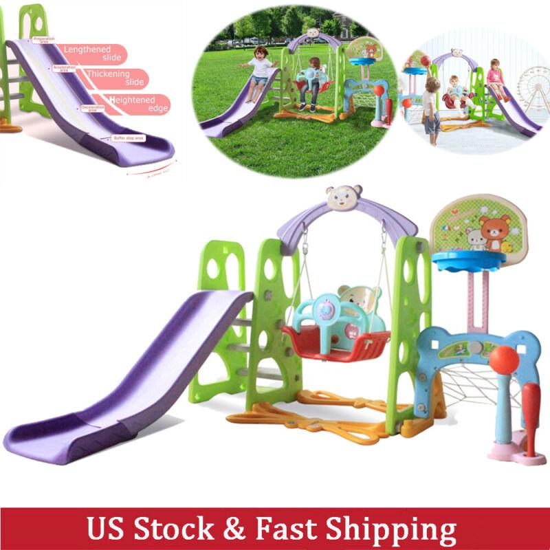6 in 1 Toddler Swing Set For Backyard Playground Slide Fun P