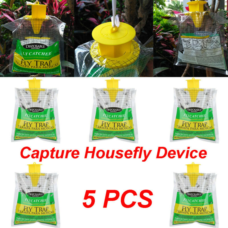 5x Disposable Fly Trap Catcher Fly Catcher Insect Hanging St