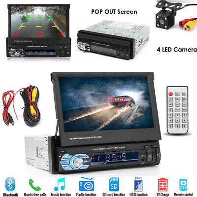 "Single 1DIN Flip-Out 7"" Car Stereo MP5 Player TF/USB/Bluetooth Radio Camera"