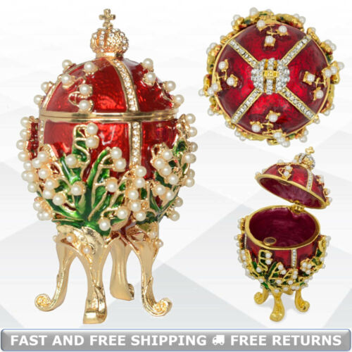 Lilies Of The Valley Faberge Royal Egg Shaped Hinged Trinket Box Enamel Ornament