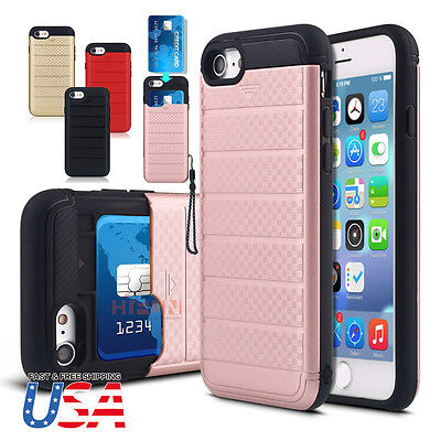 Credit Card Holder Wallet Slide Phone Case Cover Fits iPhone 7/6s/Plus Samsung (Card Holder Case Cover)