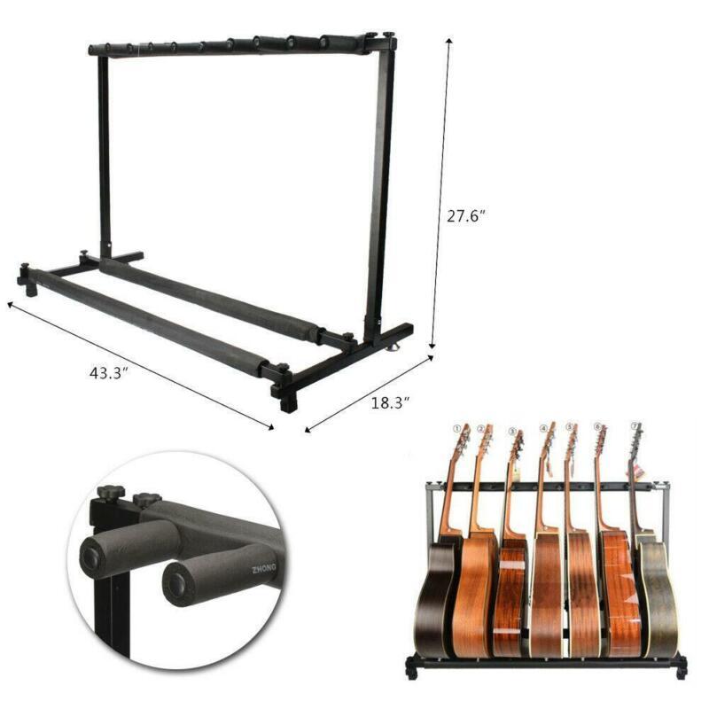 New Adjustable Black 9 Triple Folding Multiple Guitar Holder Rack Stand