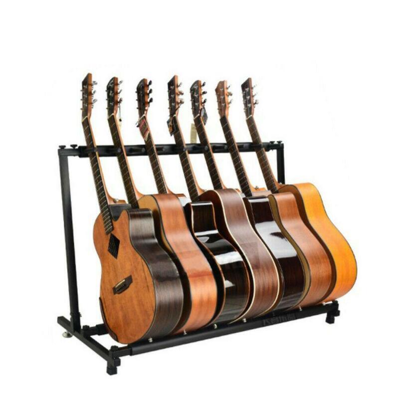 New Multiple Guitar Holder Rack Stand 9 Guitars Folding Organizer Stage