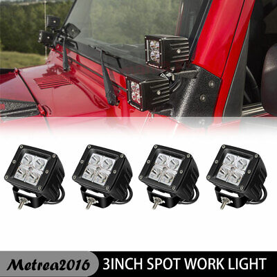 4x 16W Backupl LED Pod Lights Front Bumper Grille Foglight For Ford F150 (Clear Spot Locations)