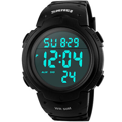 Wasserdicht Digital Led Alarm Kalender Uhr Sportuhr Herren Armbanduhr schwarz