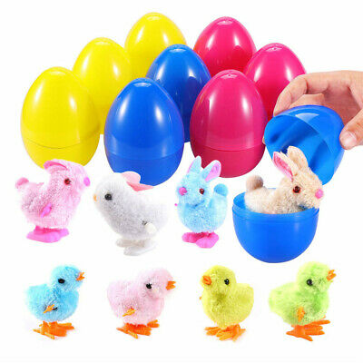 BESTTY 9 Pack Plastic Easter Eggs Filled With Multi Color Wind Up Rabbits Chicks](Easter Eggs Plastic)
