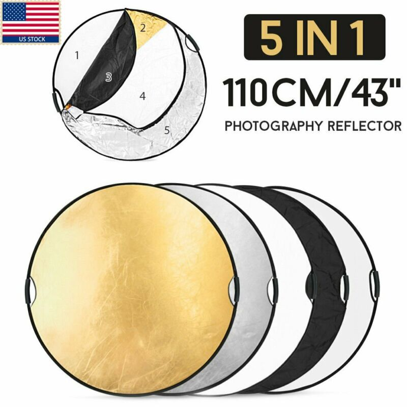 """110CM 43"""" 5in1 photo reflector Handle Grip Studio Photography Light Collapsible"""