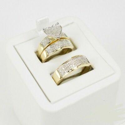 Diamond Wedding 14k Yellow Gold Fn Trio His/Hers Bridal Band Engagement Ring Set Diamond Bridal Band Ring