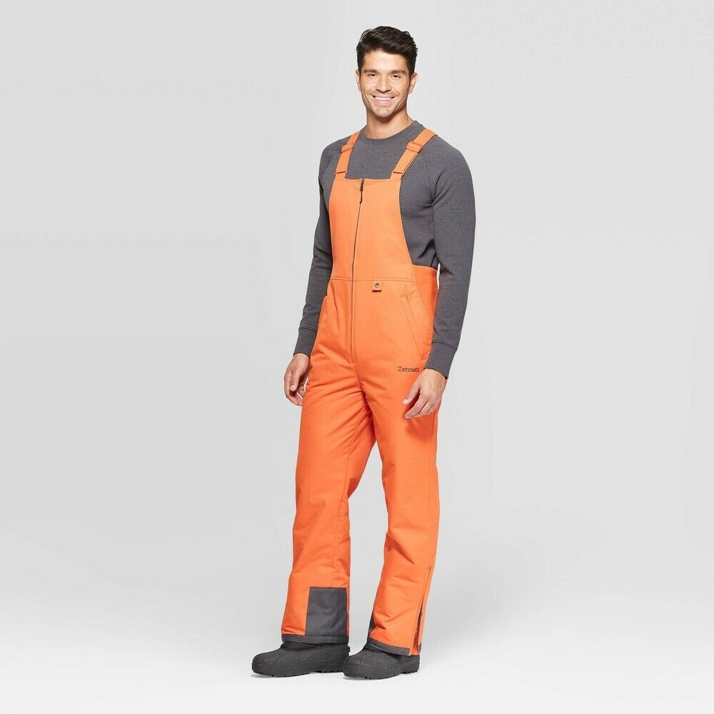 Men's Insulated Snow Bib Overall – Zermatt Burnt Ginger Sm, Orange Clothing