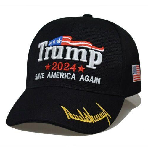 Trump 2024 Save America Again Flag Embroidered Cap Black