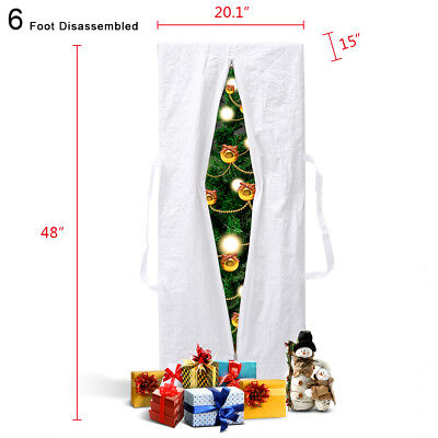 Christmas Tree Box - Rolling Artificial Christmas Tree Storage Bag Box For Up To 6' Heavy Duty White
