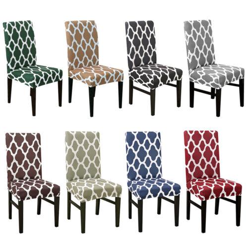 1/4/6Pcs Geometric Spandex Stretch Dining Room Chair Seat Co