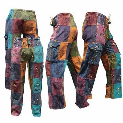 Mens Thin Patchwork Hippie Cargo Pants Colorful Summer Light Boho (Mens Hippie Fashion)
