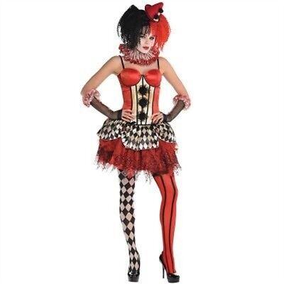 Red Vintage Clown Corset - M/l - Freak Show - Halloween Fancy Dress (Freak Show Kostüme)