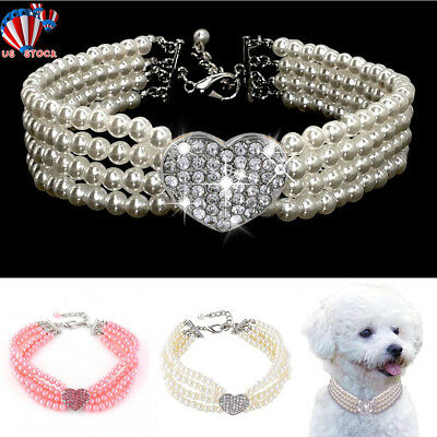 Puppy Necklace (Pet Dog Pearls Diamond Collar Puppy Chihuahua Bling Rhinestones Crystal)