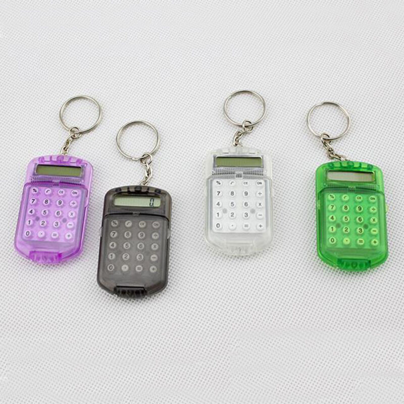8 Digits Electronic Mini Calculator With Keychain Student Office Supplies 1Pc