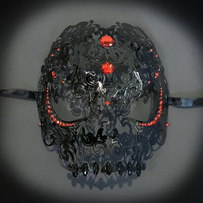 Skull Metal Venetian Masquerade Mask for Men or Women, Black with Red Gems