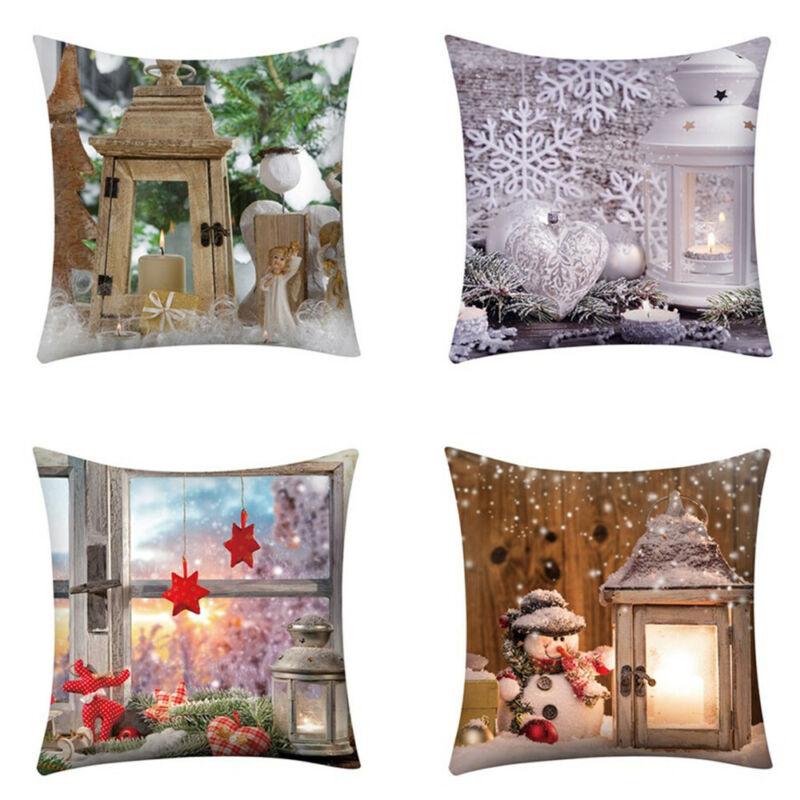 """4PCS/18""""x18"""" Xmas Print Pillow Case Polyester Sofa Car Cushi"""