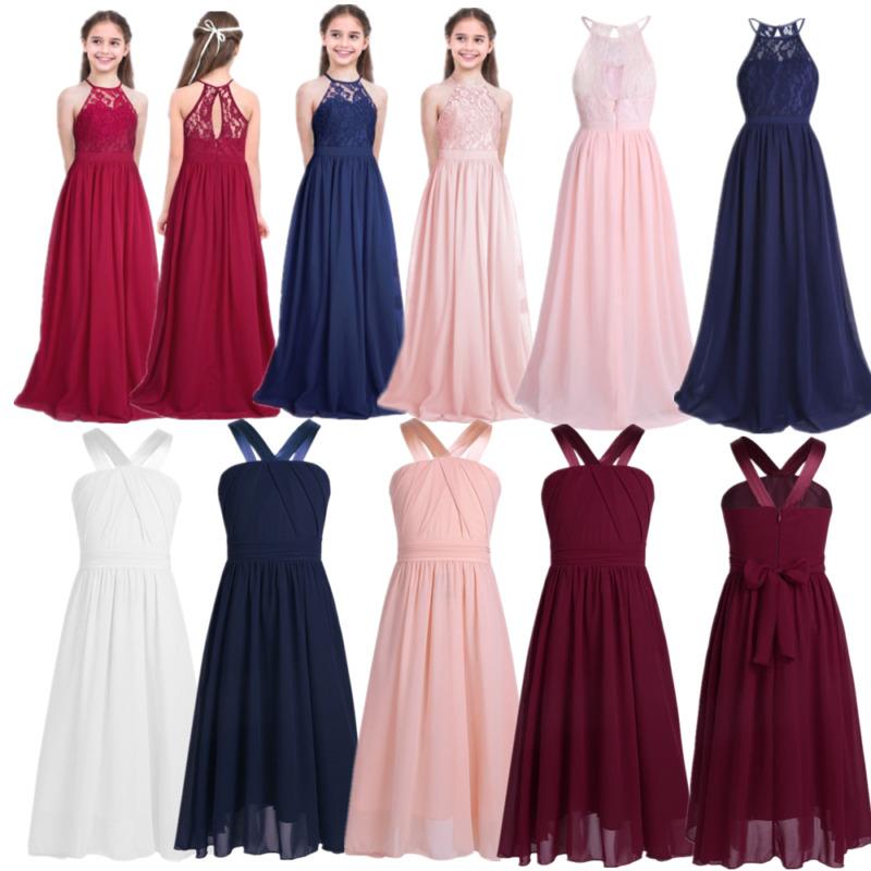 Lace Flower Girls Dress Kids Princess Pageant Wedding Bridesmaid Gown Birthday