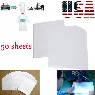 50pcs T-shirt Print Iron-on Heat Inkjet Transfer Paper Tool For Darklight Cloth
