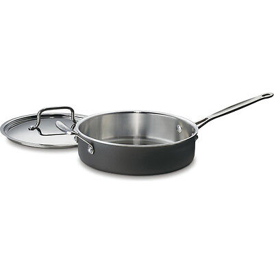 Cuisinart MultiClad Unlimited Saute Pan with Helper and Cover, 3-Quart, Black