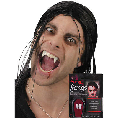 Halloween Vampire Teeth Fancy Dress White With Putty Adhesive For Adults & Teens (Putty For Teeth)
