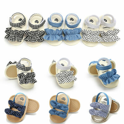 Summer Newborn Toddler Baby Girl Crib Shoes Soft Sole Anti-slip Princess Sandals