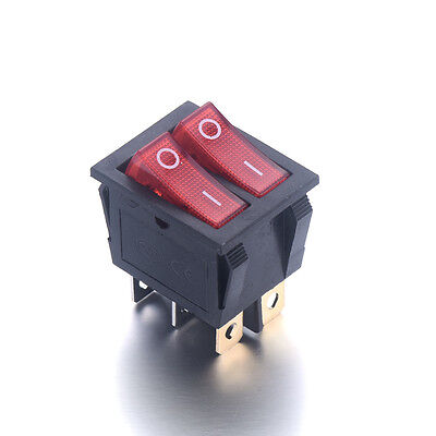 Double Red Light Illuminated 6 Pin Spst Onoff Snap In Boat Rocker Switch Kcd6