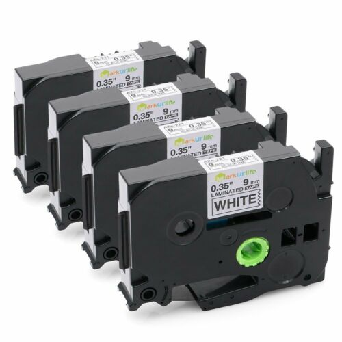 Black on White Label Tape 9mm Compatible for Brother TZe-221 P-Touch 26.2ft 4PK