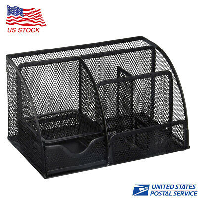 Mesh Office Supplies Desk Organizer Caddy 6 Compartments Black