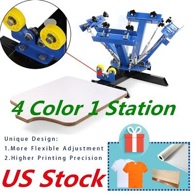 Us - 4 Color 1 Station Screen Printing Press Machine Screening Pressing