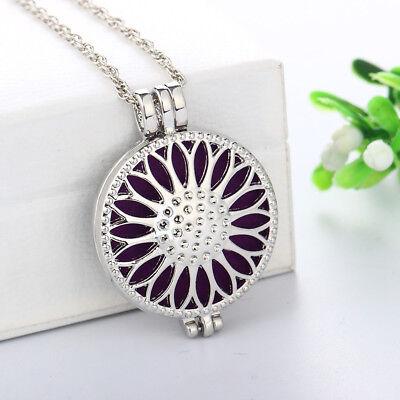 Flower Pendant Locket - Aromatherapy Essential Oil Diffuser Necklace Pendant Sun Flower Photo Locket